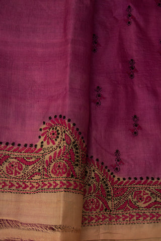 Purple with Pink Kantha Hand EmbroideredTussar Silk Saree