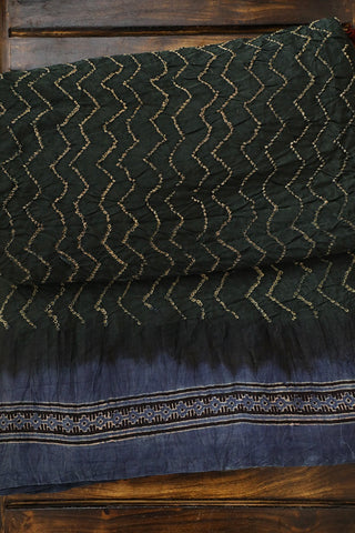 Dark Greenish Black Ajrak Bandhani Gajji Silk Saree