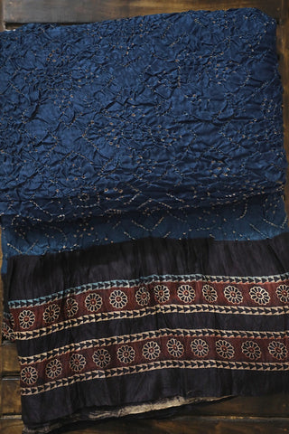 Blue with Black Ajrak Bandhani Gajji Silk Saree