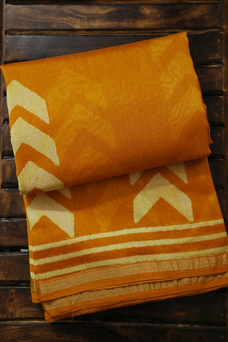 Yellow Block Printed Chanderi Saree