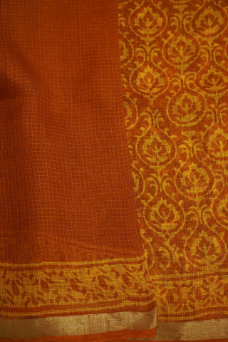 Shades of Yellow Block Printed Kota Silk Saree
