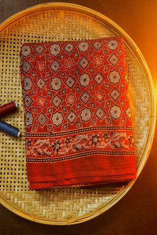 Reddish Maroon with Black Block Printed Ajrak Mul Cotton Saree
