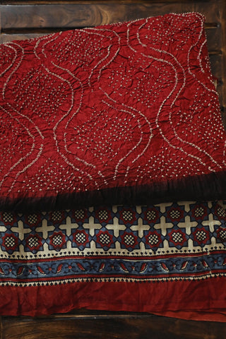 Maroon with Off White Ajrak Bandhani Gajji Silk Saree
