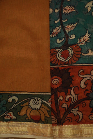 Subdued Indigo Floral Painted Kalamkari Chanderi Silk Cotton Saree