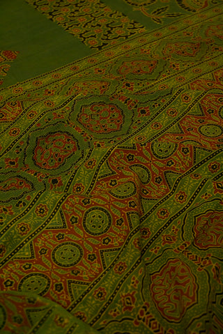Subdued Green with Maroon Block Printed Ajrak Mul Cotton Saree