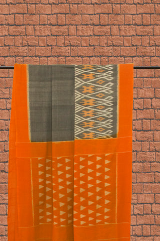 Grey with Yellow Handwoven Ikat Cotton Saree