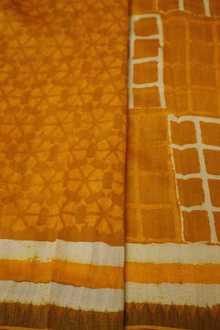 Yellow with Square Boxes Block Printed Chanderi Saree