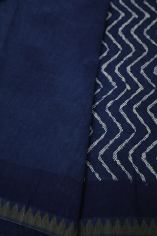 Indigo with Ghicha Border Block Printed Chanderi Saree