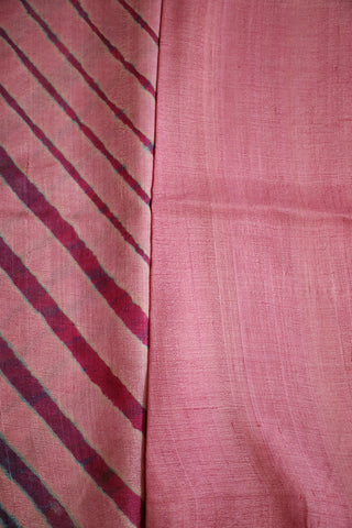 Light Pink Tie & Dye Leheriya Tussar Silk Saree