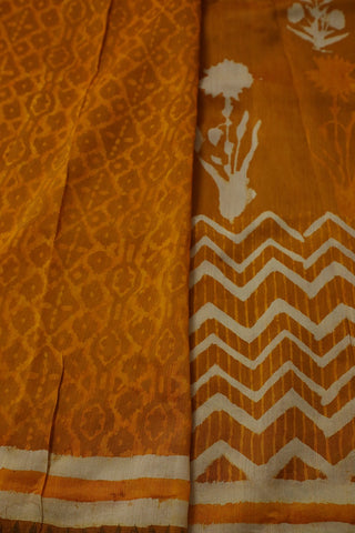 Yellow block printed Chanderi Saree with ghicha border