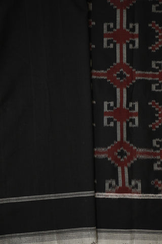 Black with Rust Maroon Double Ikat Cotton Saree