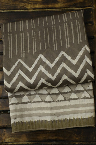 Grey with Off White Block Printed Chanderi Saree