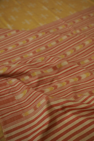 Light Yellow with subtle design Fine Cotton Ikat Saree