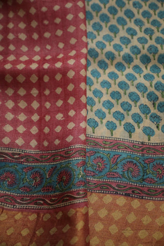 Blue Small Floral Tussar silk Saree