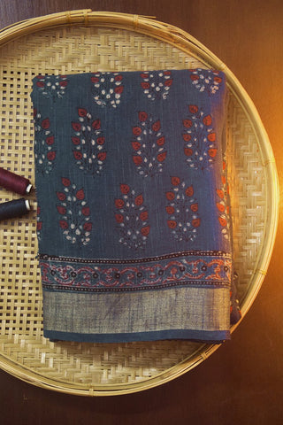 Maroon with Subdued Indigo Leaves Ajrak Slub Cotton Saree