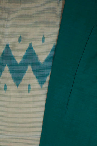 Off White with Bluish Green Pin Striped Lines Handwoven Ikat Cotton Saree
