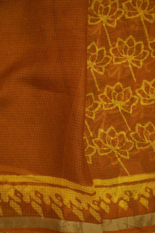 Yellow Floral Block Prints in Brownish Yellow Kota Silk Saree