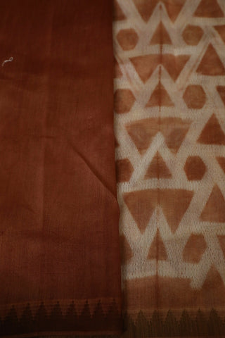 Light Brown with Temple Border Tie & Dye Chanderi Saree