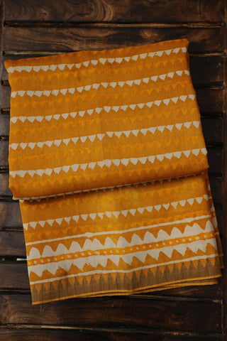Yellow with Gicha Temple Border Chanderi Saree