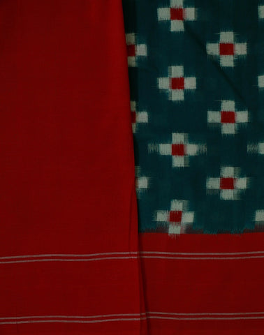 Dark Peacock Blue with Red Ikat Saree