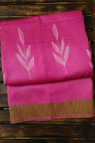Pink Ghicha Border Tie & Dye Chanderi Saree