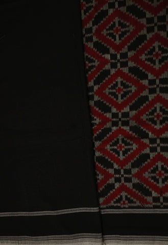 Black with Maroon Diamonds Ikat Cotton Saree