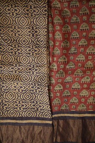 Subdued Maroon Block Printed Tussar silk Saree