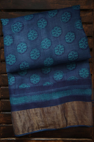 Shades of Blue Bagru Print Tussar silk Saree