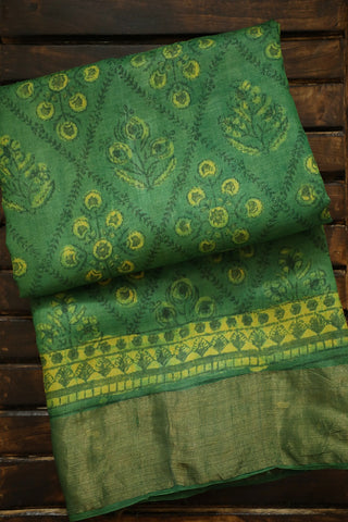 Green Bagru Block Printed Tussar silk Saree