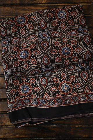 Black with Blue Intricate Modal Silk Ajrak Saree