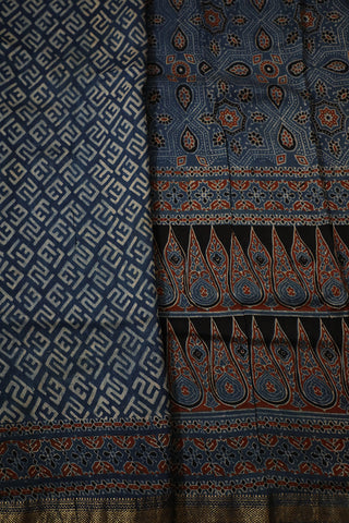 Indigo Ajrak Maheshwari Silk Cotton Saree