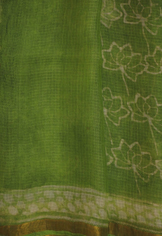 Off White Leaf Block Prints in Light Green Kota Silk Saree
