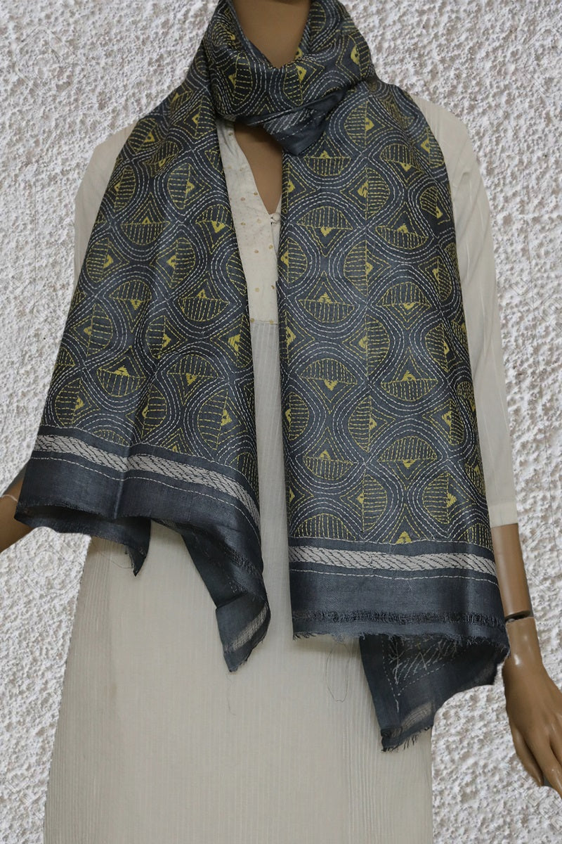 ef4b73f295f Grey with yellow Kantha Embroidered Tussar Silk Stole