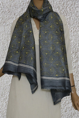Grey with yellow Kantha Embroidered Tussar Silk Stole
