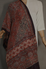 Shades of Maroon and Black Mulberry Silk Ajrak Stole