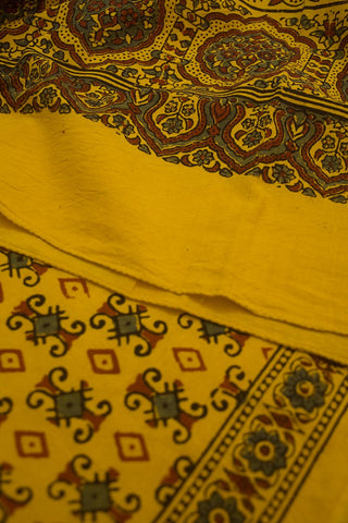 Yellow with Small Squares Cotton Stole