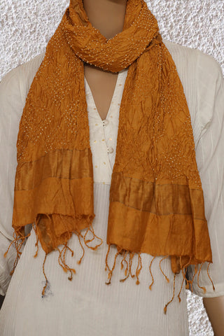 Brownish Yellow Tie & Die Bandhini Scarf