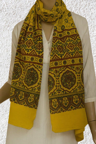 Yellow with Indigo Circles Cotton Stole