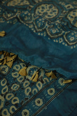 Yellow Paisley in Blue Mulberry Silk Ajrak Stole