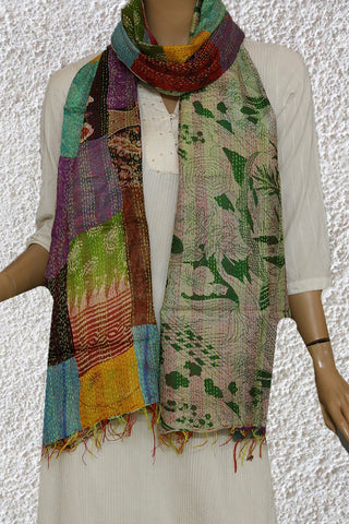 Reversible Kantha Embroidered Silk Stole