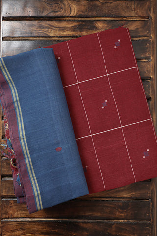 Maroon Checks Handspun Handwoven Top with Dupatta