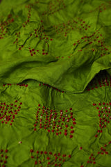Parrot Green with Red Tie & Die Bandhani silk Stole