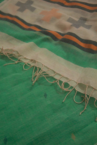 Light Green with Yellow Jamdani Cotton Stole