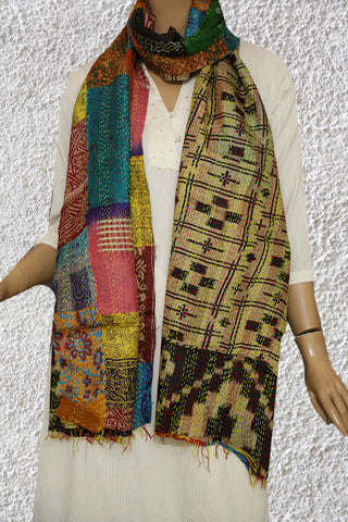 Multi Colour Patch Work Kantha Silk Stole