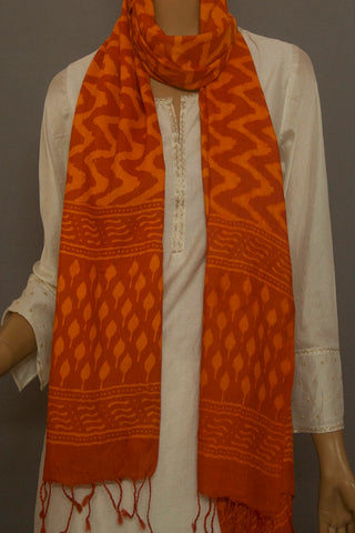 Orange Zig Zag Block Printed Tussar Silk Stole
