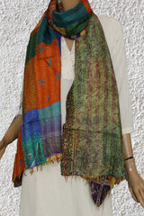 Orange with Blue Patch Work Kantha Silk Stole