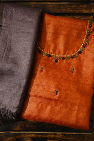 Brown Tussar Silk Embroidered Top with Dupatta