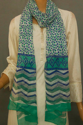 Off White with Blue with Green Block Printed Kota Stole
