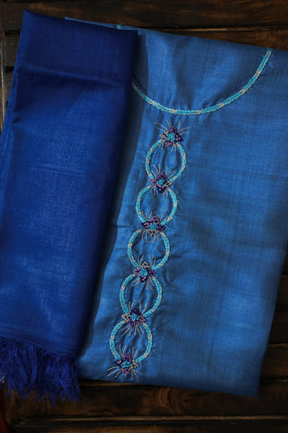 Shades of Blue Tussar Silk Embroidered Top with Dupatta