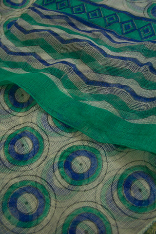 Blue with Green Circles Block Printed Kota Stole